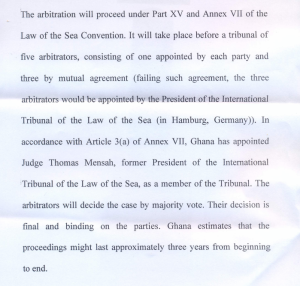 The official press release demonstrating the intended arbitration proceedure.